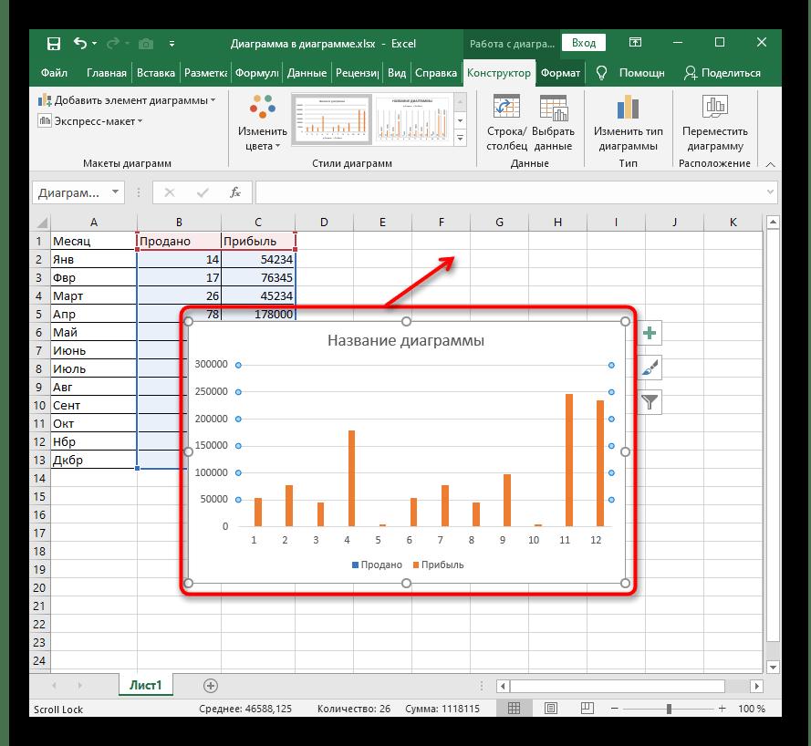 Успешное добавление диаграммы после ее создания по таблице в Excel