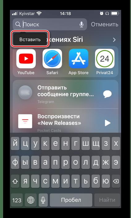 Вставить скопированный знак Номер для его самостоятельного ввода на iPhone