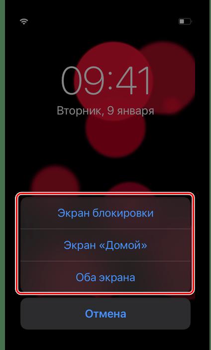 Выбор варианта установки живых обоев в Настройках iOS на iPhone
