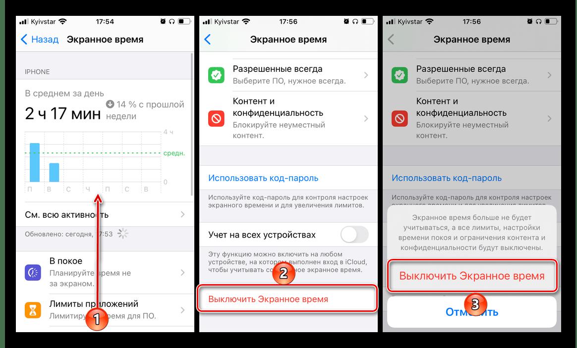 Выключить экранное время в настройках iPhone