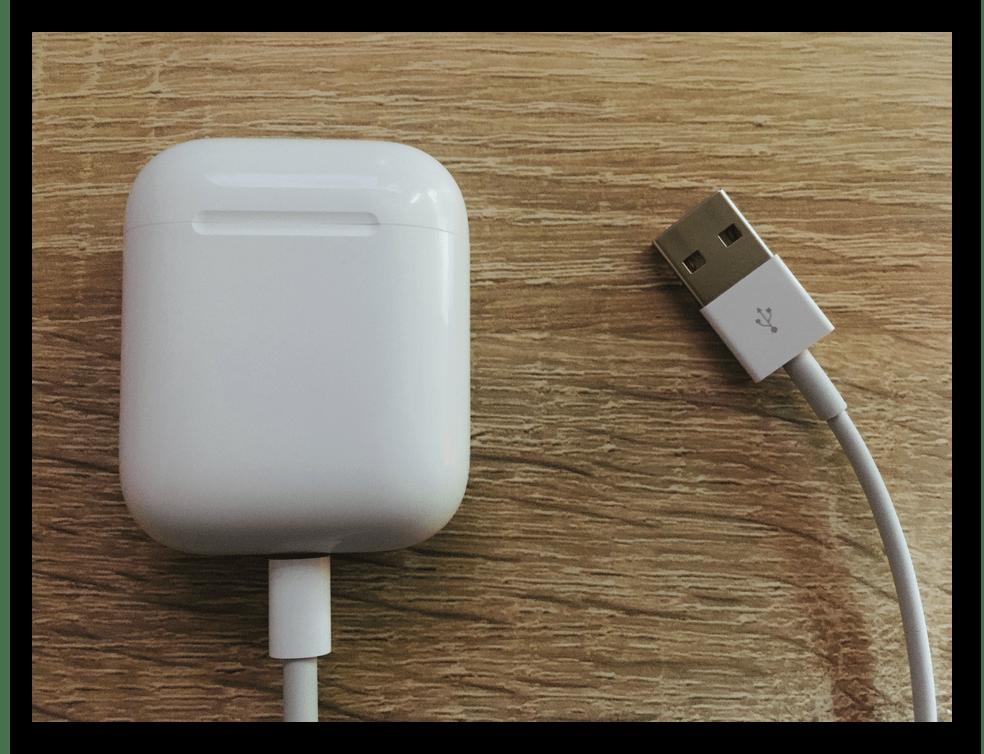 Зарядка AirPods 1-го и 2-го поколения по кабелю Lightning-to-USB