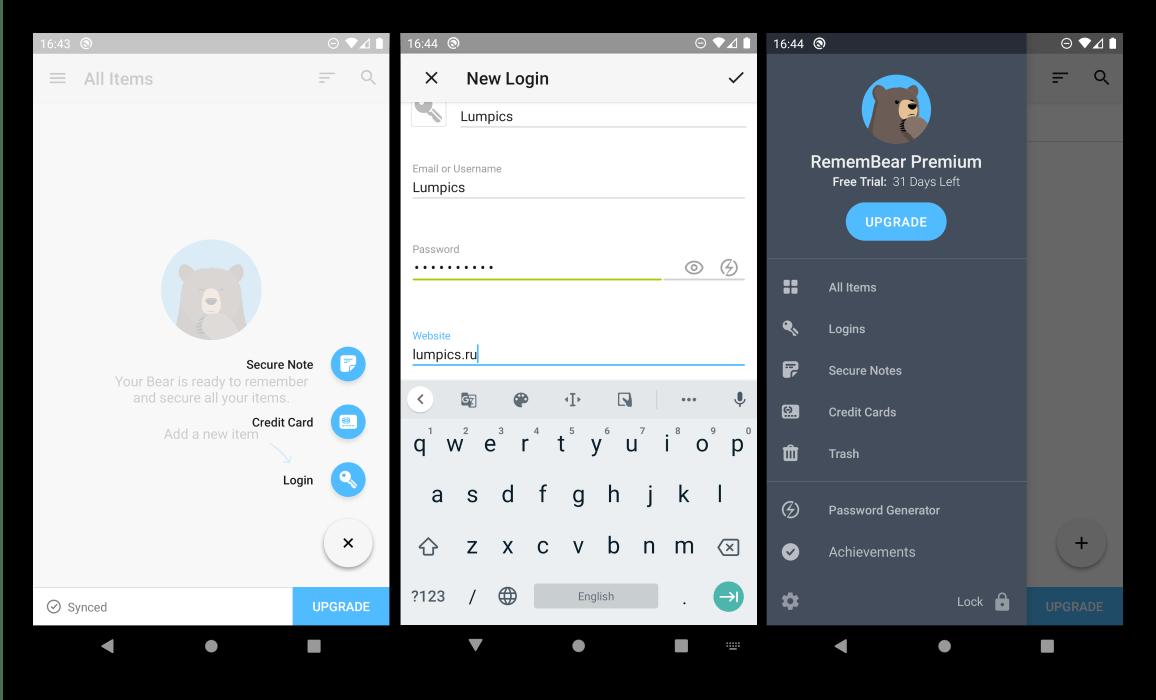 Добавить новый логин и пароль в менеджер паролей для Android RememBear