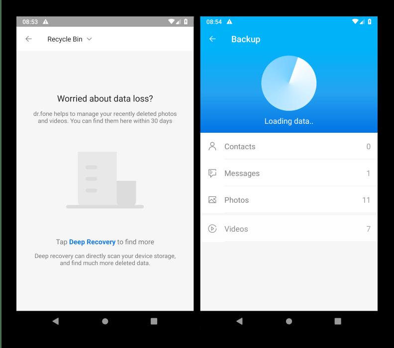 Дополнительные функции программы для восстановления файлов на Android dr.fone Recovery