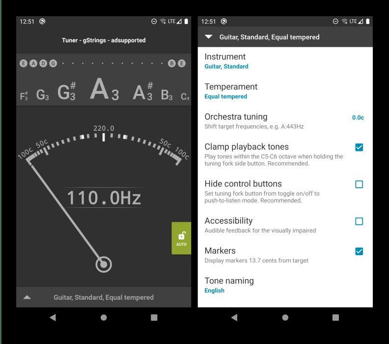 Интерфейс приложения для настройки гитары на Android gStrings