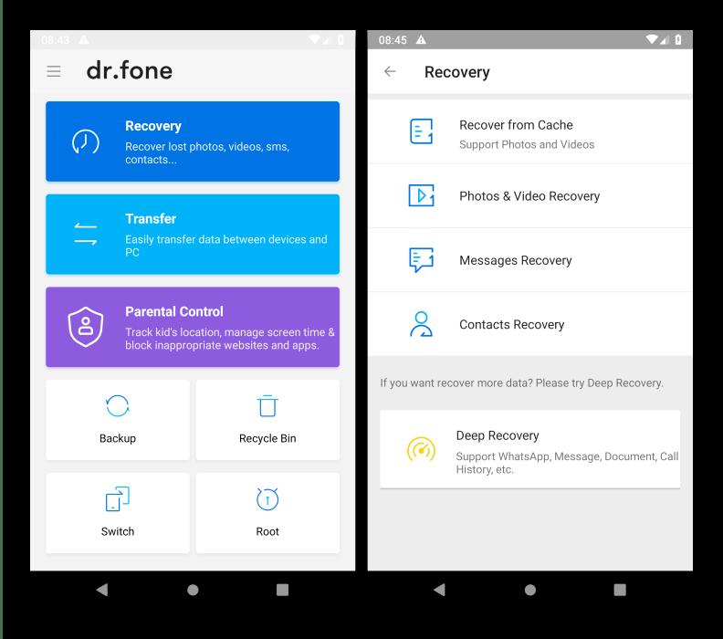 Интерфейс программы для восстановления файлов на Android dr.fone Recovery