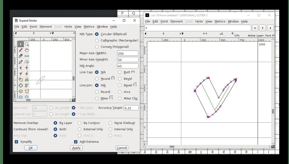 Использование программы FontForge для создания шрифтов