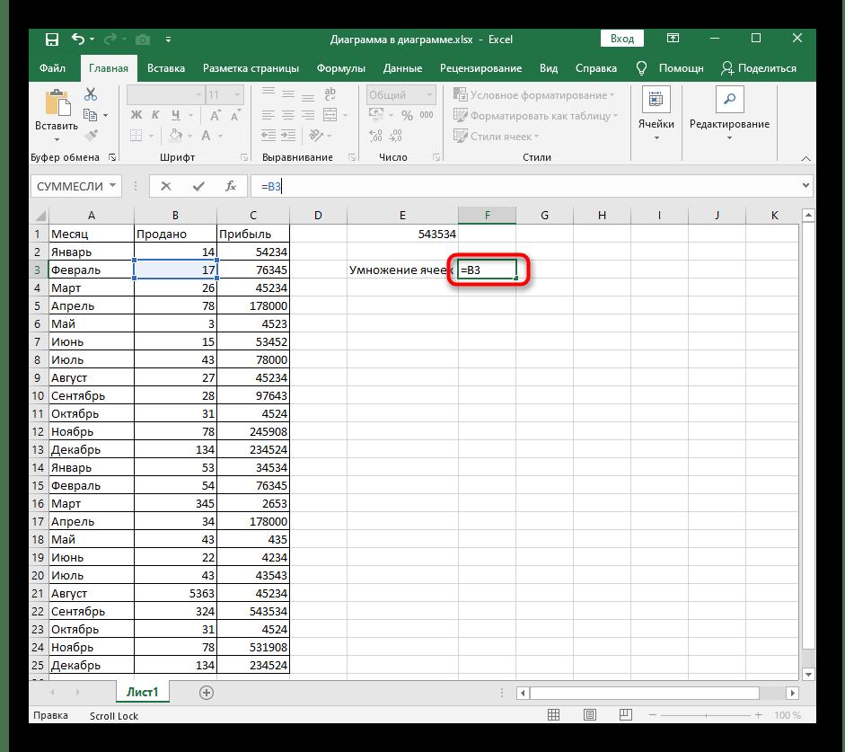 Начало создания формулы для умножения ячейки на число в программе Excel