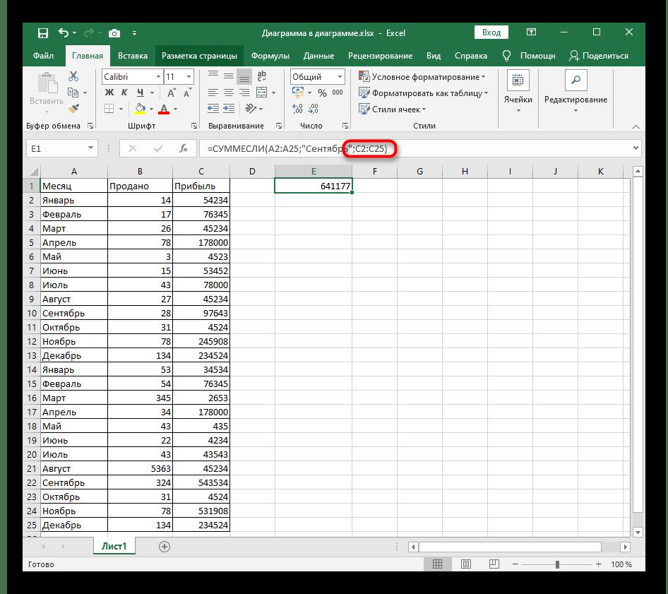 Объявление суммируемых ячеек при использовании функции СУММЕСЛИ в Excel для сопоставления названий