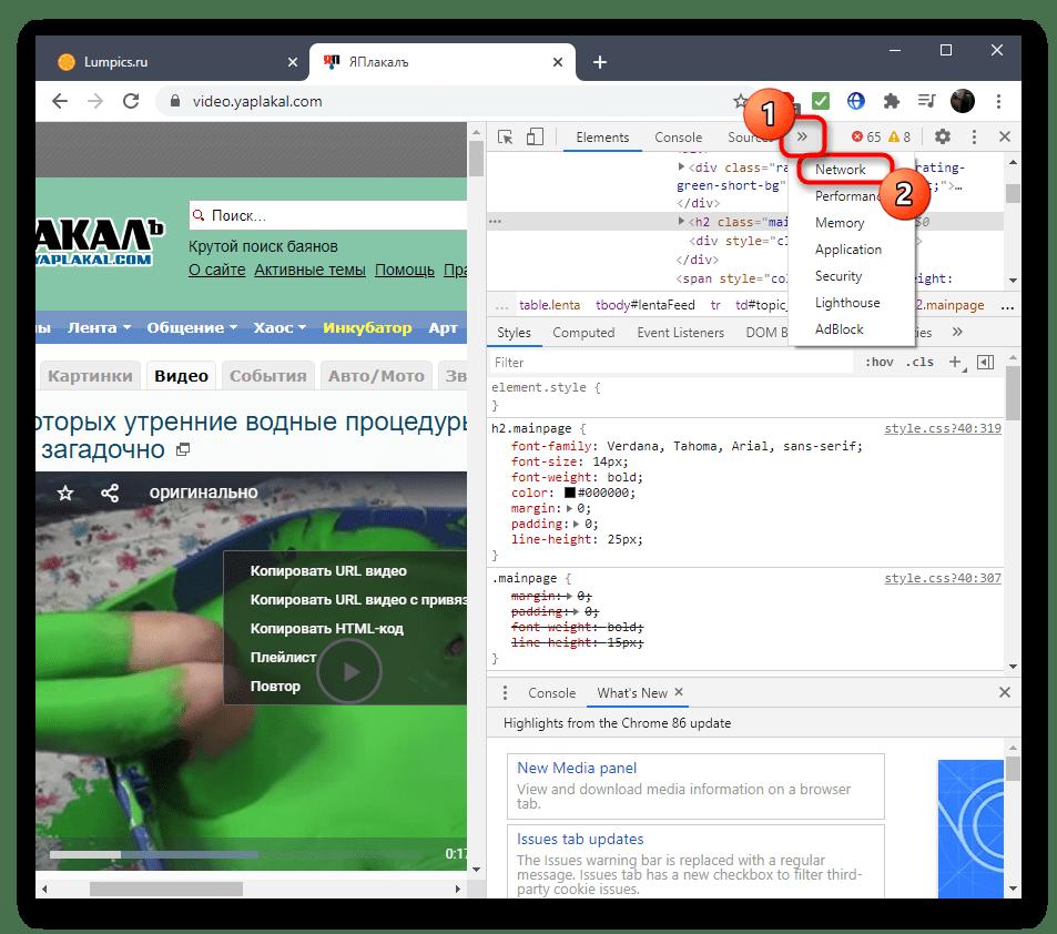 Открытие раздела для просмотра кода элемента при скачивании видео с сайта ЯПлакалъ