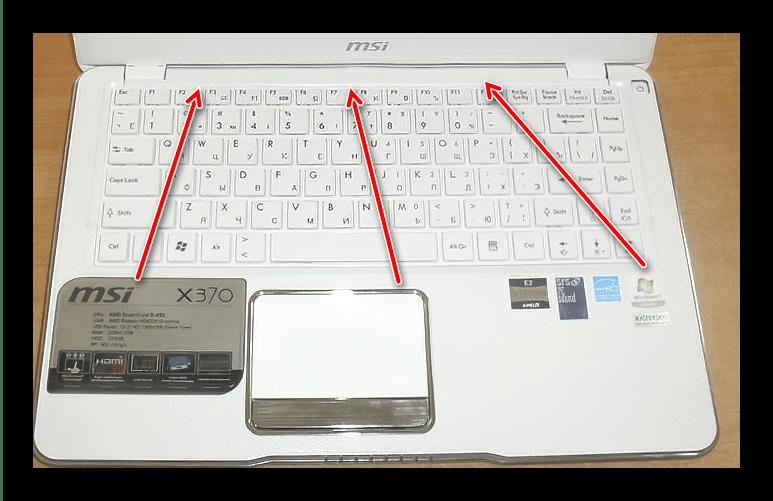 Отщёлкнуть клавиатуру для разборки ноутбука MSI X370 MS-1356
