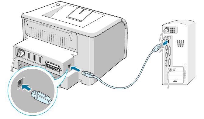 Подключение принтера Canon MG5340 к компьютеру через идущий в комплекте кабель