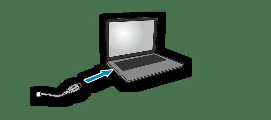 Подключение принтера Canon MG5340 к ноутбуку при помощи идущего в комплекте кабеля