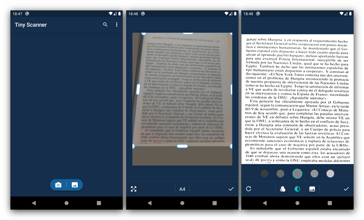 Получение и редактирование снимка в программе для сканирования документов на Android Tiny Scanner