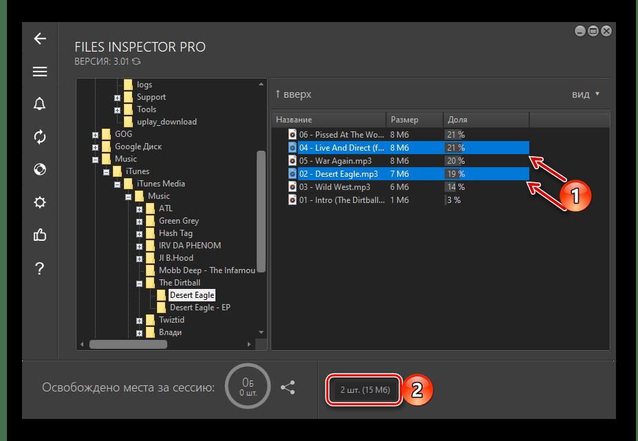 Пример выделения файлов для удаления в программе Files Inspector для ПК
