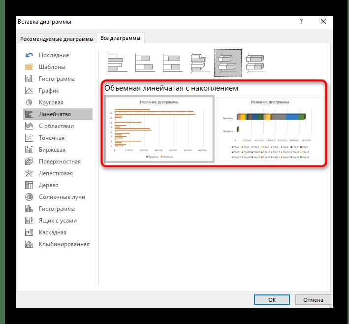Просмотр второго варианта трехмерной линейчатой диаграммы в Excel