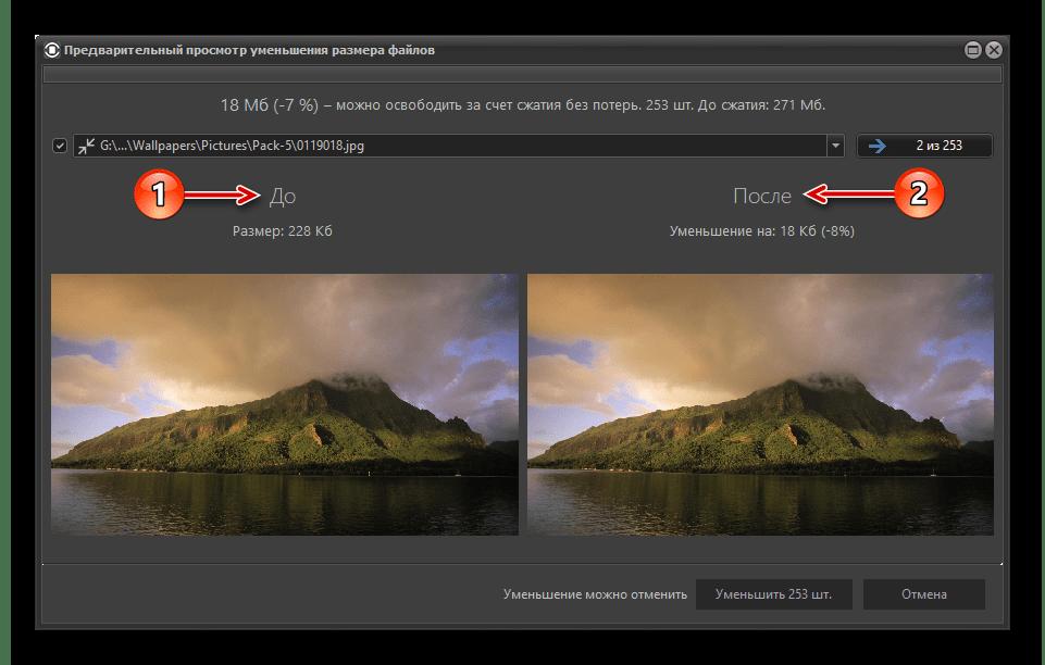 Работа инструмента для сжатия изображений без потери качества в программе Files Inspector для ПК