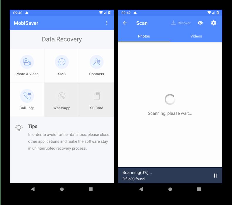Работа с программой для восстановления файлов на Android EaseUS MobiSaver