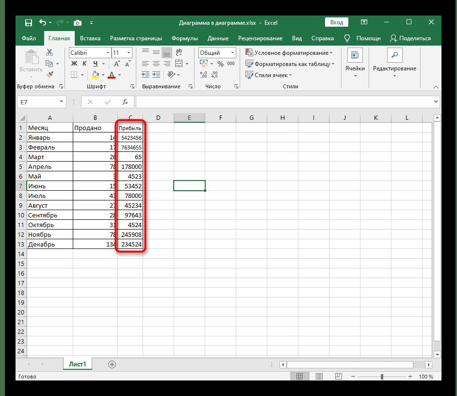 Результат активирования опции автоматического подбора ширины столбца в Excel