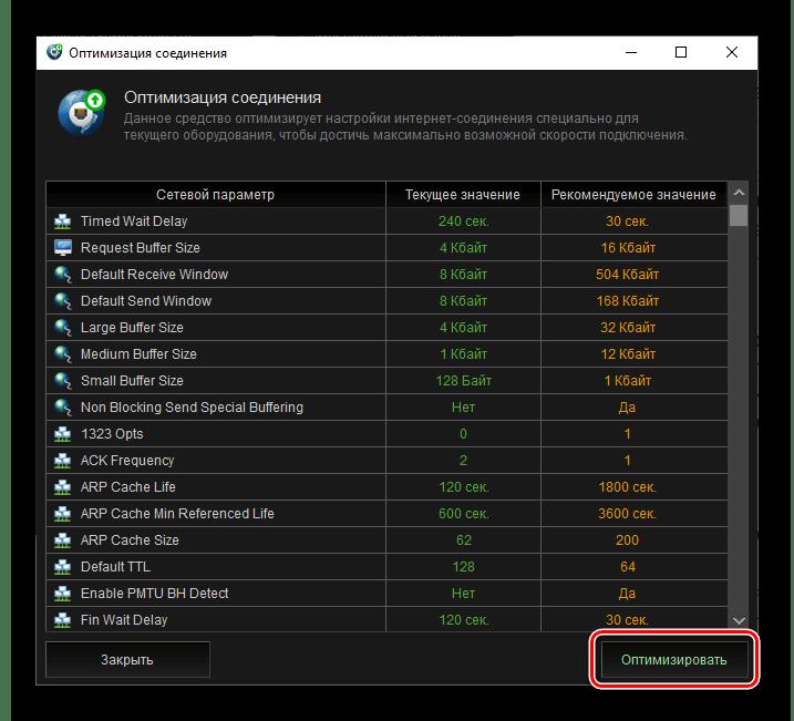 Результат оптимизации соединения в программе Kerish Doctor 2020 для Windows