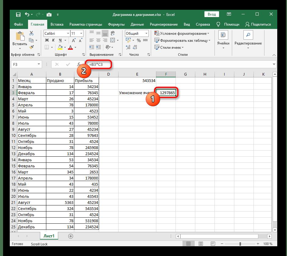 Результат создания формулы умножения ячеек в программе Excel