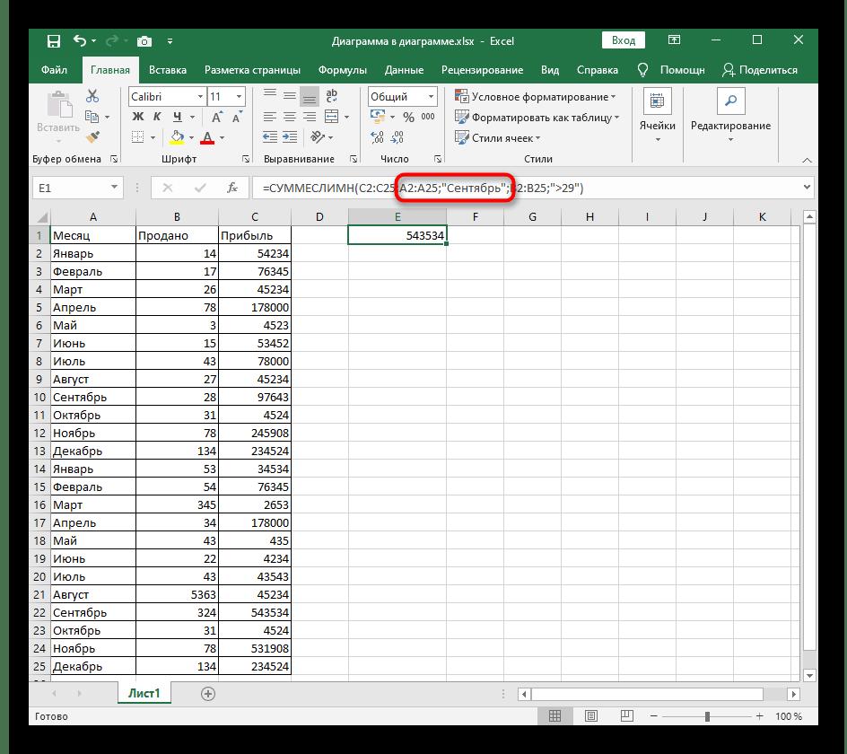 Создание второго аргумента функции СУММЕСЛИ в Excel при нескольких значениях