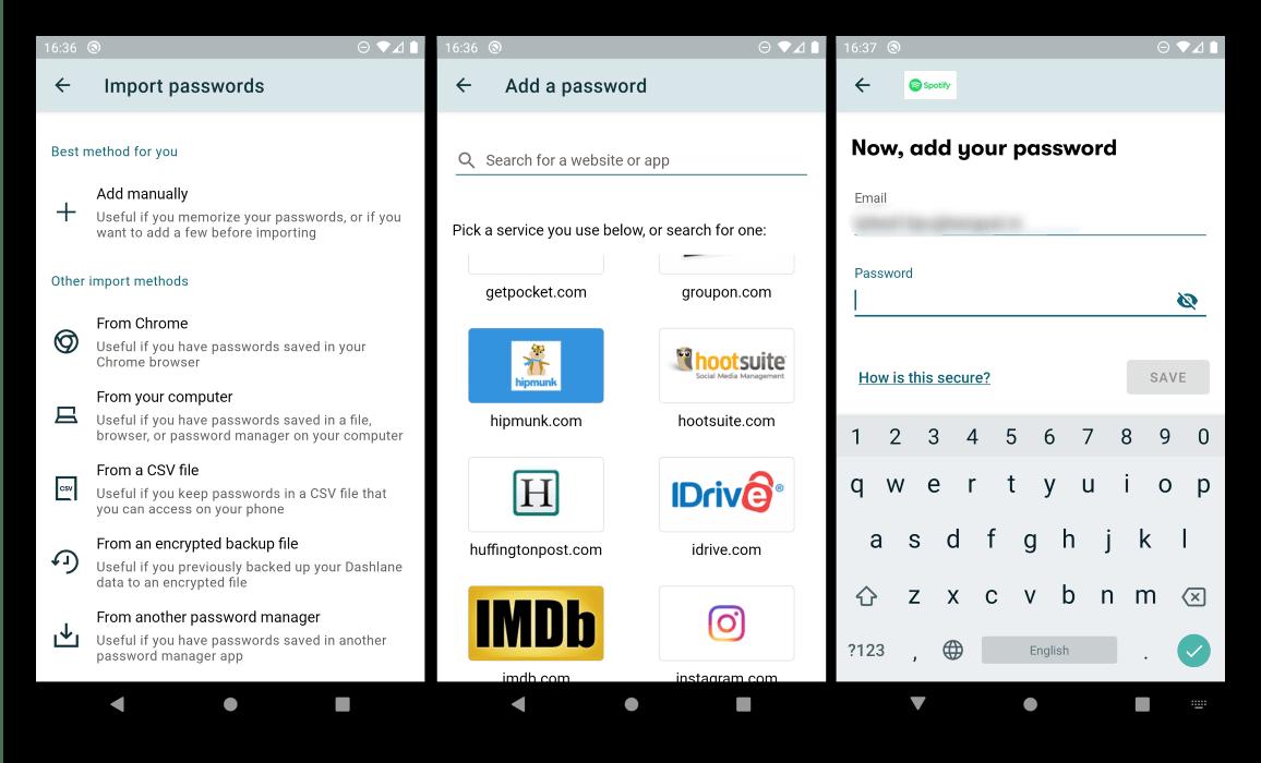 Основные функции менеджера паролей на Android Dashlane