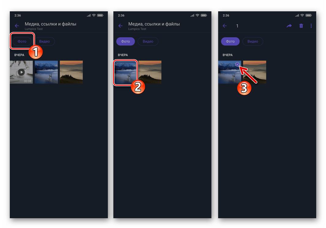 Viber для Android - выбор фото для отправки по emeil в Галерее Медиа мессенджера