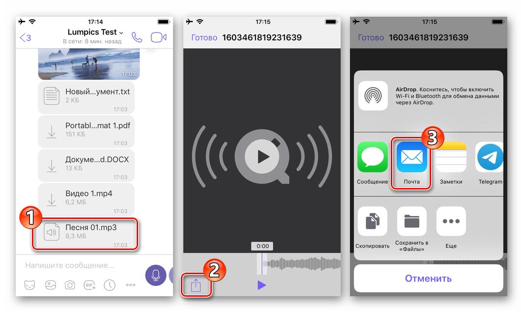 Viber для iOS - вызов функции Отправить для файла, выбор почтового клиента в качестве средства передачи