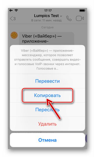 Viber для iPhone - копирование текстового сообщения в буфер обмена iOS
