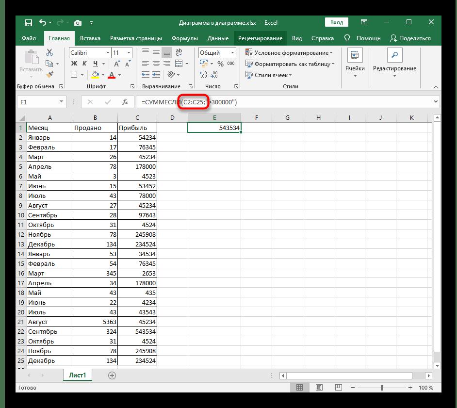 Ввод аргумента диапазона ячеек для использования в функции СУММЕСЛИ в Excel