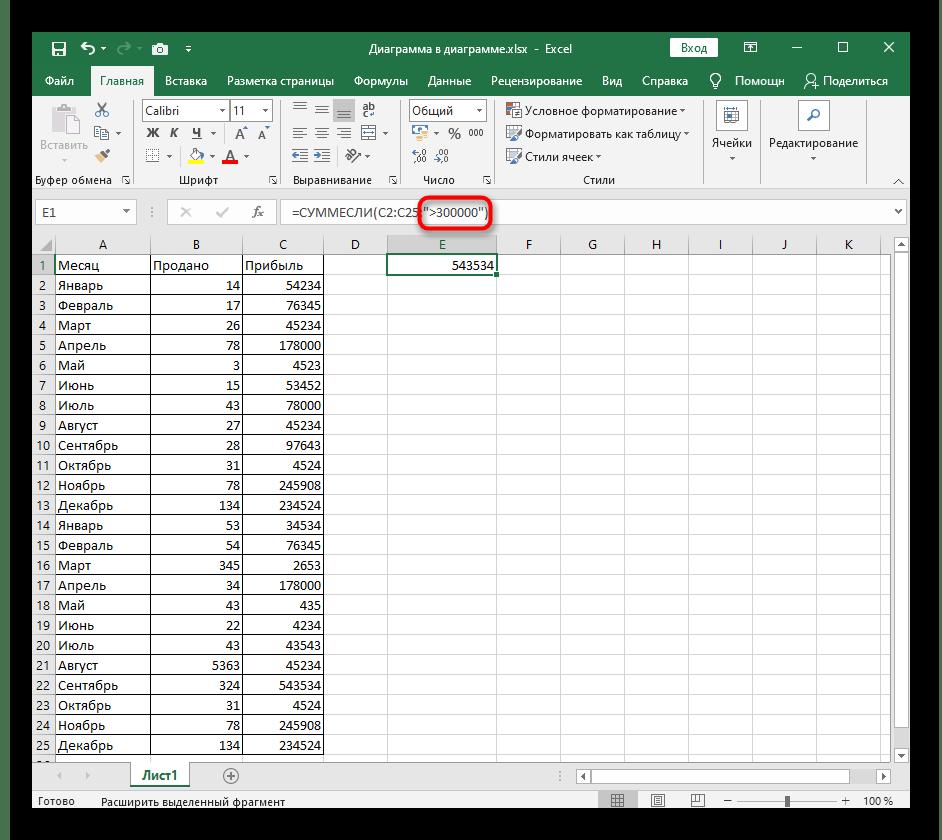 Ввод условия для стандартного представления функции СУММЕСЛИ в Excel