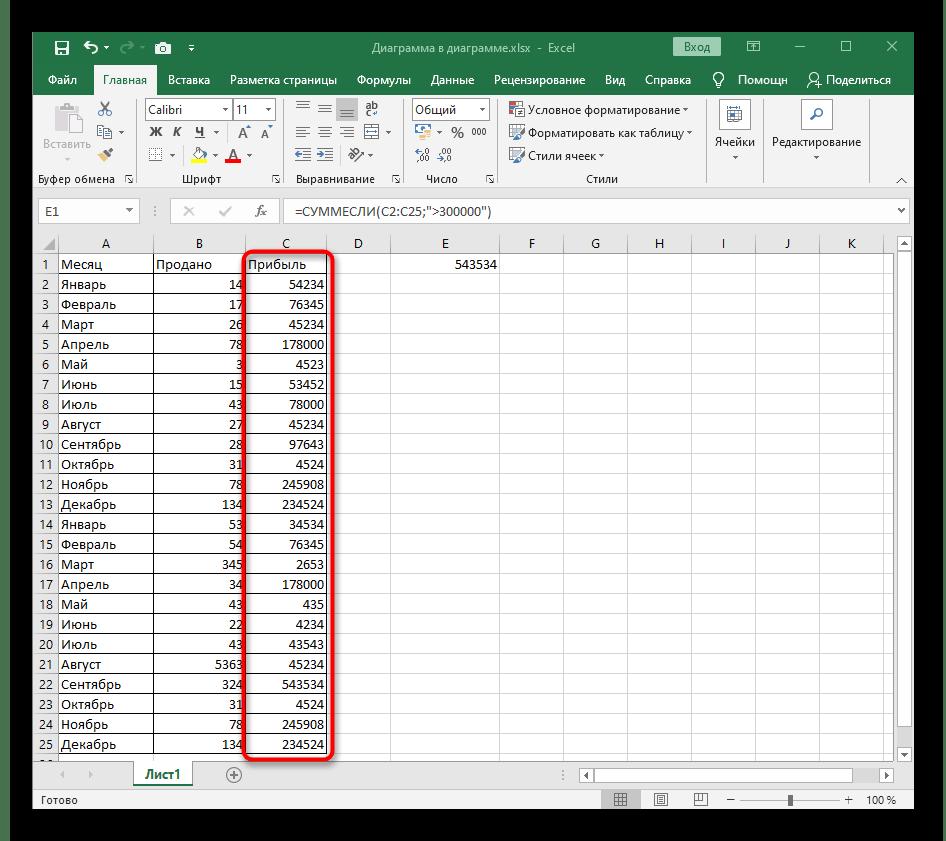 Выбор диапазона ячеек для создания стандартного представления функции СУММЕСЛИ в Excel