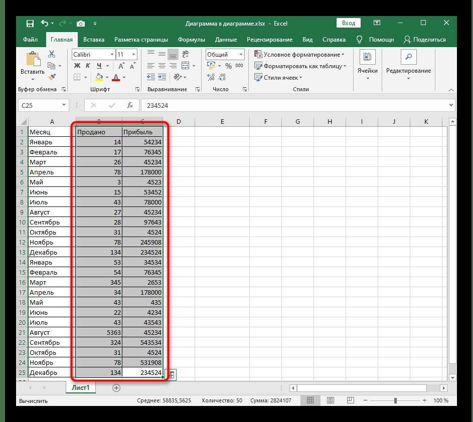 Выделение таблицы для создания линейчатой диаграммы в Excel