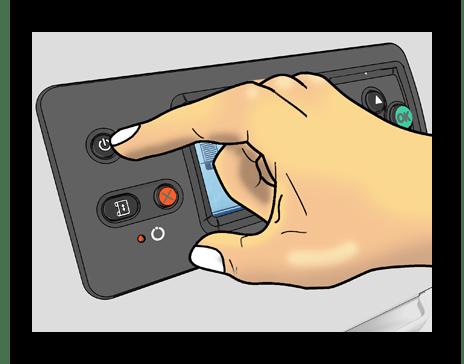 Вывод принтера из ждущего режима путем нажатия по кнопке питания при решении проблемы Принтер не отвечает