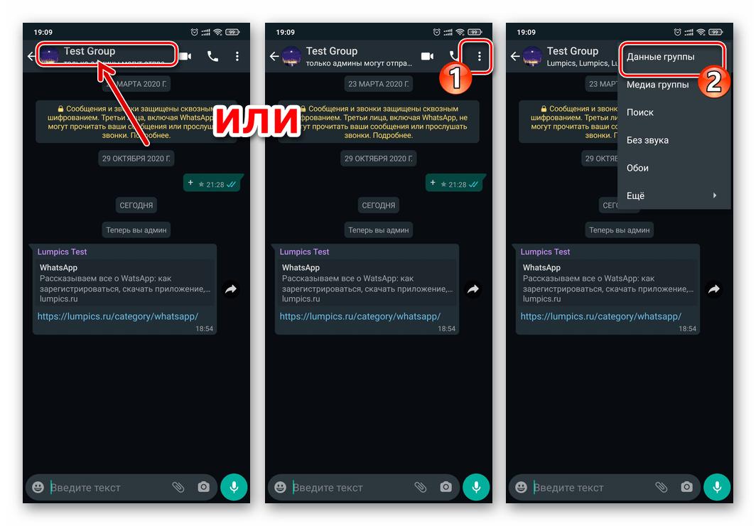 WhatsApp для Android - открытие экрана Данные группы для администрируемого чата