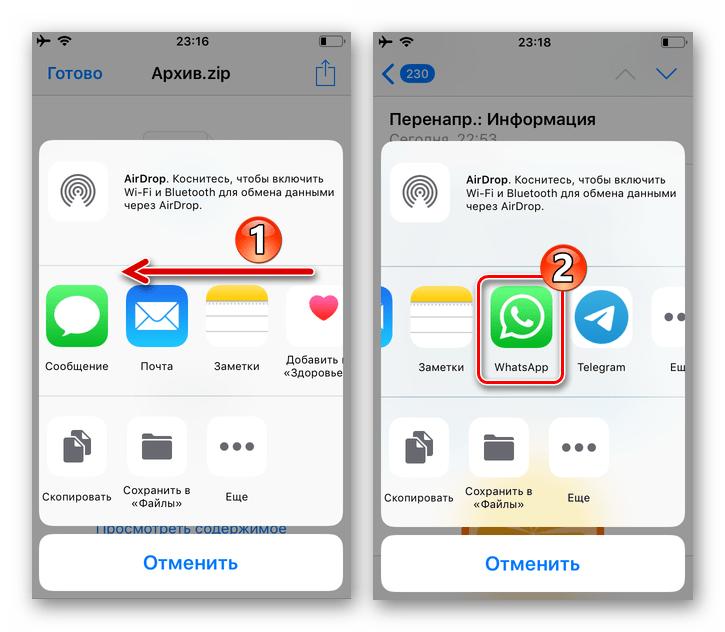 WhatsApp для iPhone - мессенджер в панели доступных для отправки информации из email программ