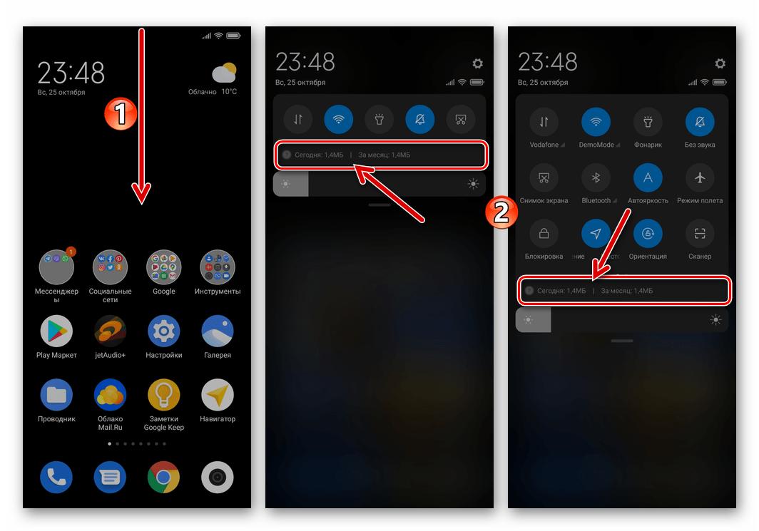 Xiaomi MIUI 12 область с данными о потребленном смартфоном мобильном трафике в системной шторке