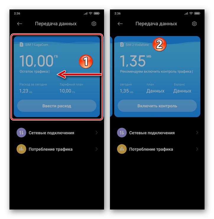 Xiaomi MIUI 12 переход к просмотру информации по второй сим-карте на вызванном из системной шторки экране Передача данных