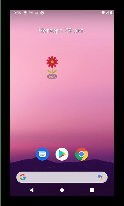 Значок батареи в приложении виджетов для Android Flower Battery Widget