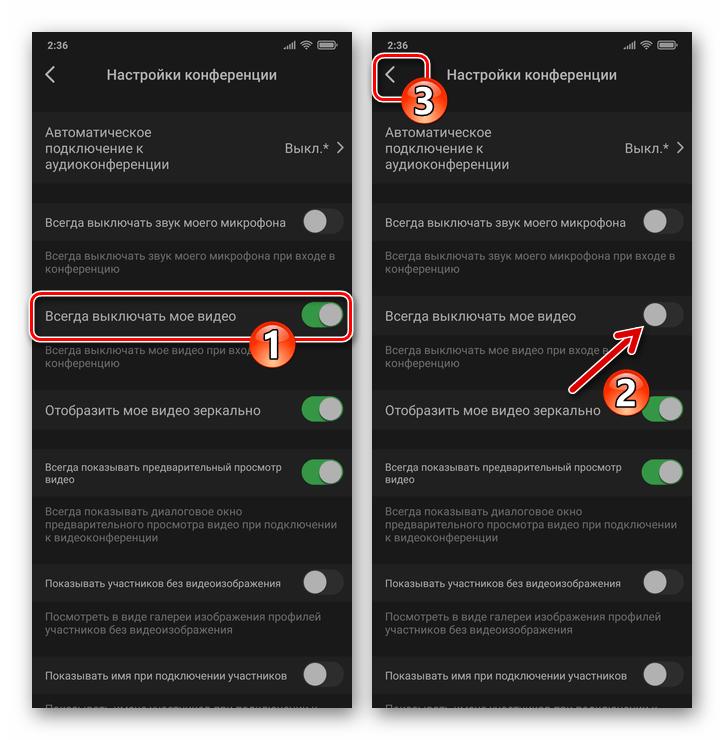 Zoom для смартфона - деактивация опции Всегда выключать мое видео в Настройках приложения