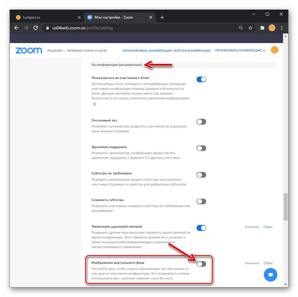Zoom для Windows активация опции Изображение вирутального фона в Настройках профиля на сайте сервиса