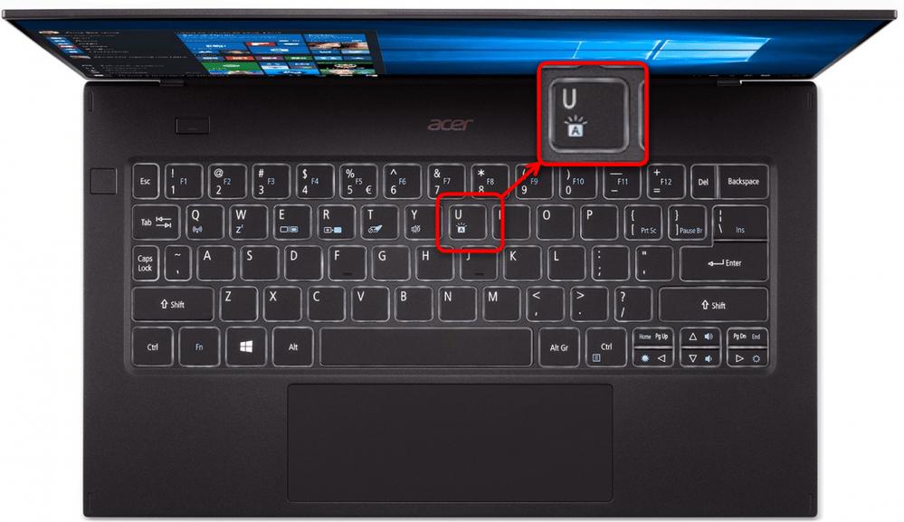 Альтернативный пример включения подсветки клавиатуры на ноутбуках Acer Swift