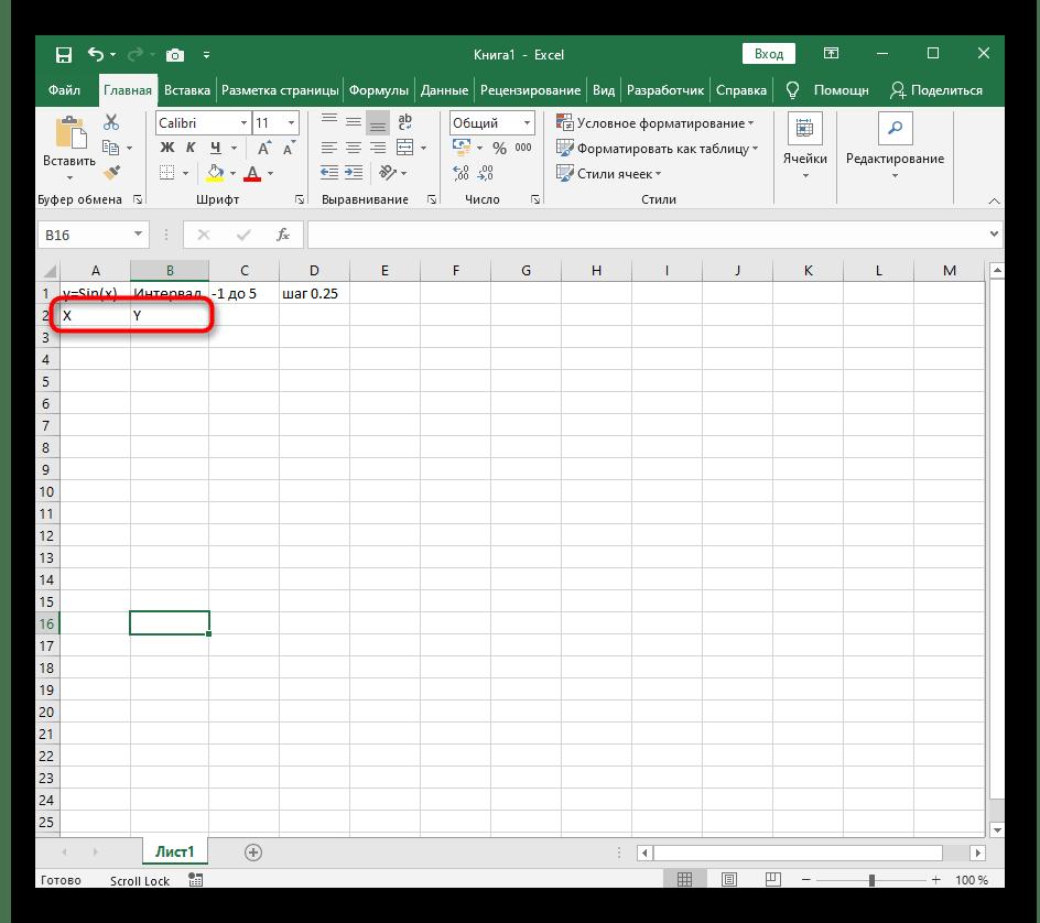Добавление двух столбцов при построении графика функции y=sin(x) в Excel