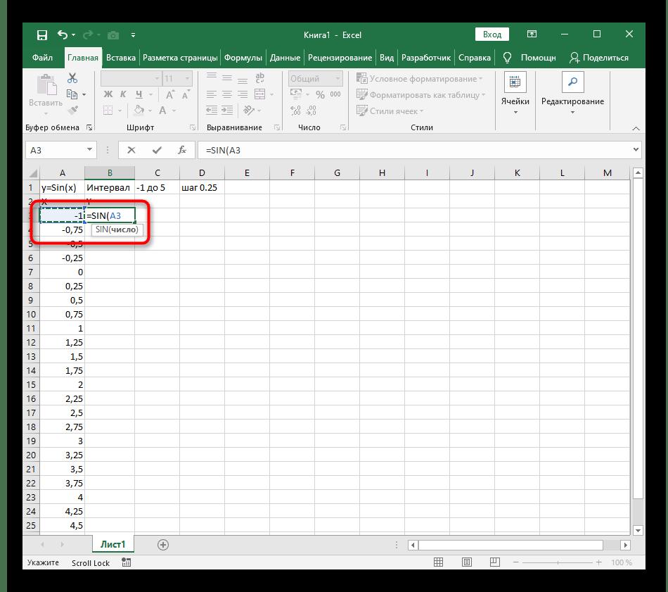 Добавление первого числа для формулы при расчете Y для построения графика функции y=sin(x) в Excel