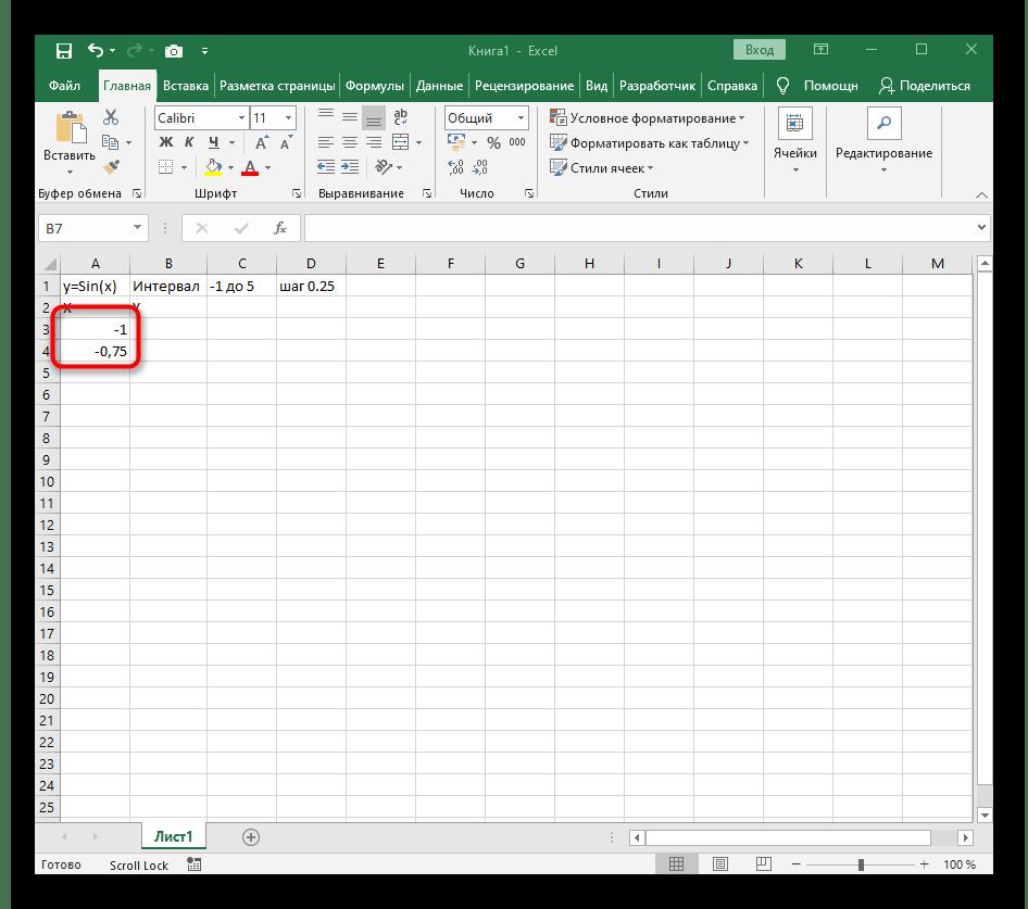 Добавление первых значений для X при построении графика функции y=sin(x) в Excel