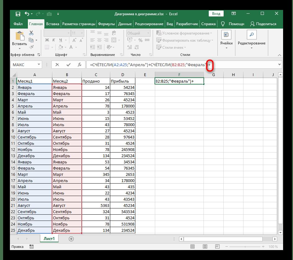 Добавление знака плюса для прибавления других условий при использовании функции СЧЁТЕСЛИ в Excel