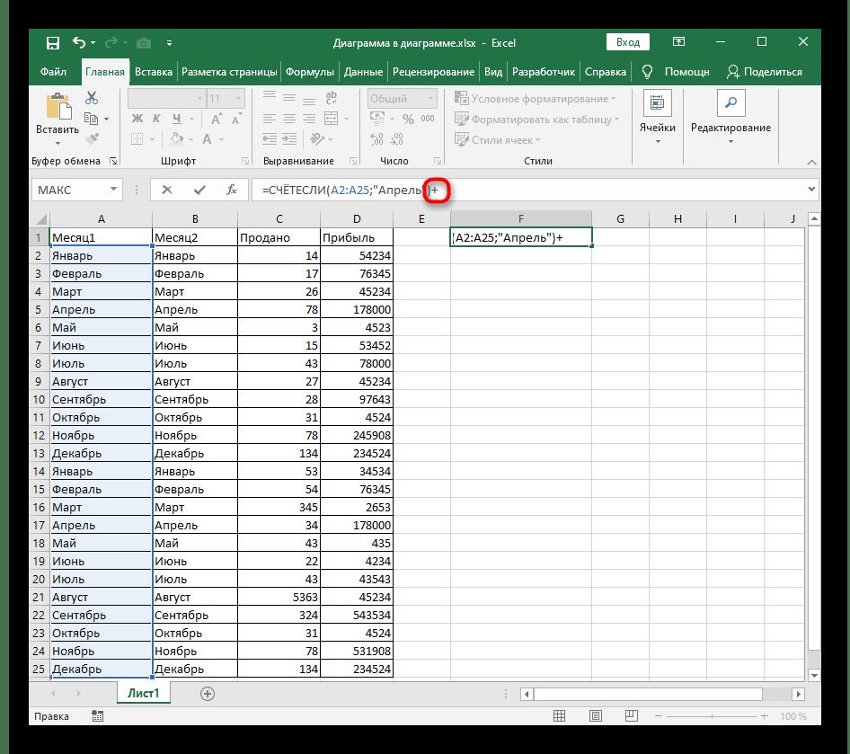 Добавление знака плюса при создании функции СЧЁТЕСЛИ в Excel для нескольких текстовых условий