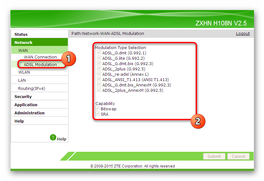 Использование модуляции ADSL при текущем типе подключения в веб-интерфейсе роутера ZTE ZXHN H118N