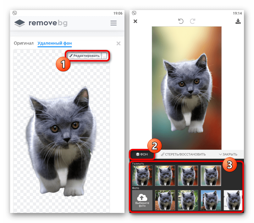 Изменение фона на изображении на сайте Background Removal