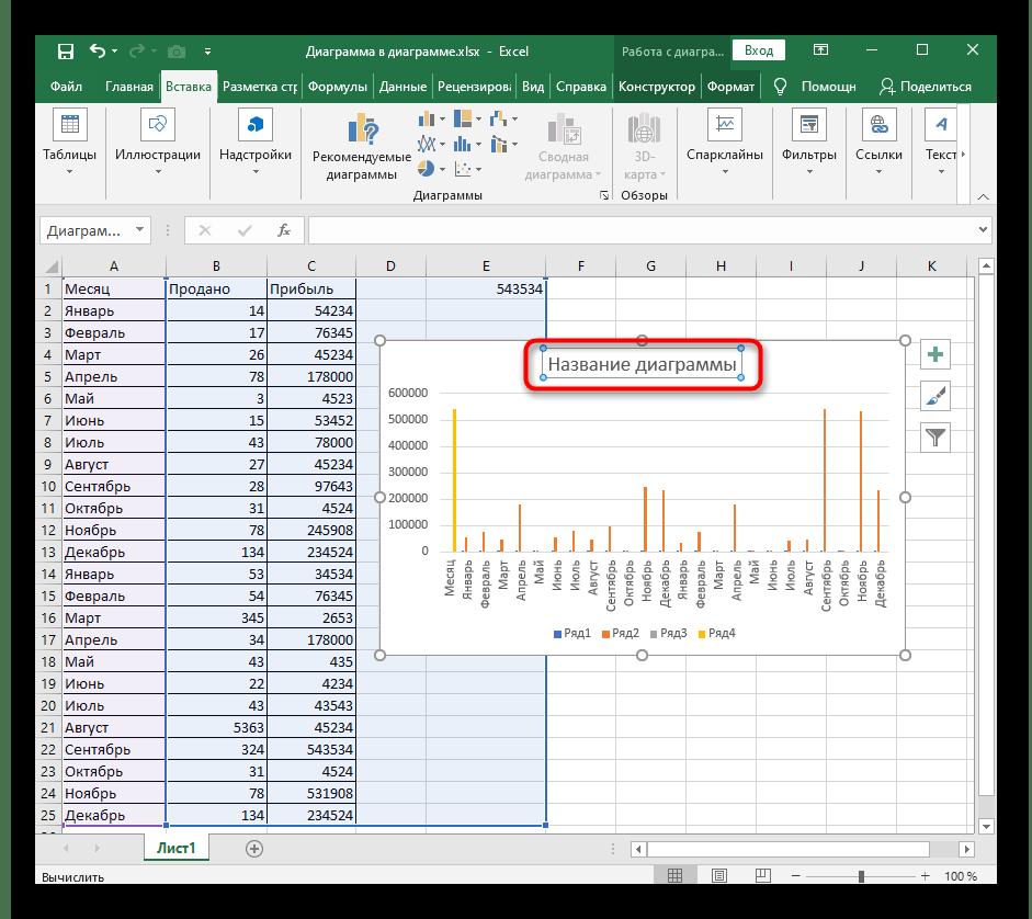 Изменение названия столбчатой диаграммы при ее редактировании в Excel